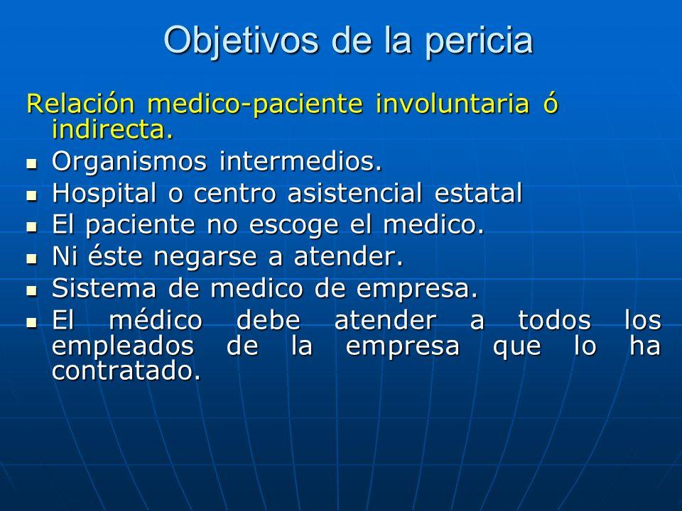 Objetivos de la pericia Relación medico-paciente involuntaria ó indirecta. Organismos intermedios. Organismos intermedios. Hospital o centro asistenci