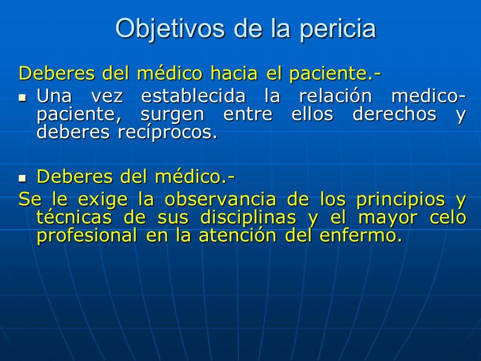 Objetivos de la pericia Deberes del médico hacia el paciente.- Una vez establecida la relación medico- paciente, surgen entre ellos derechos y deberes