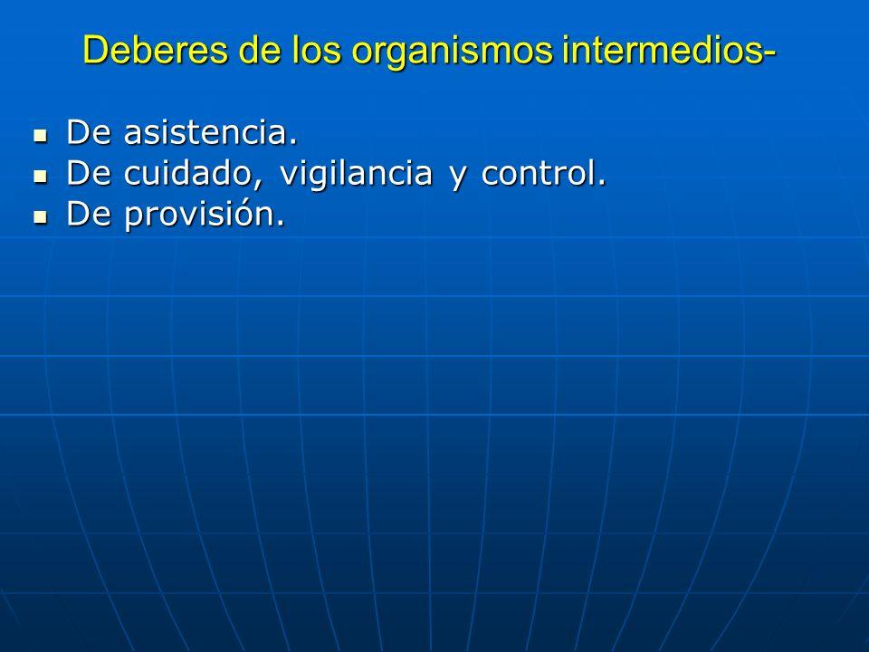 Deberes de los organismos intermedios- De asistencia. De asistencia. De cuidado, vigilancia y control. De cuidado, vigilancia y control. De provisión.