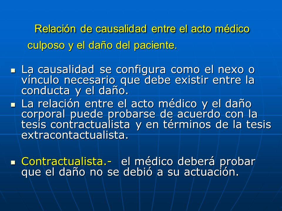Relación de causalidad entre el acto médico culposo y el daño del paciente. Relación de causalidad entre el acto médico culposo y el daño del paciente