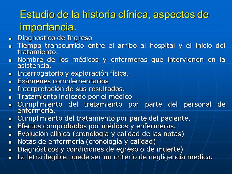Estudio de la historia clínica, aspectos de importancia. Diagnostico de Ingreso Diagnostico de Ingreso Tiempo transcurrido entre el arribo al hospital