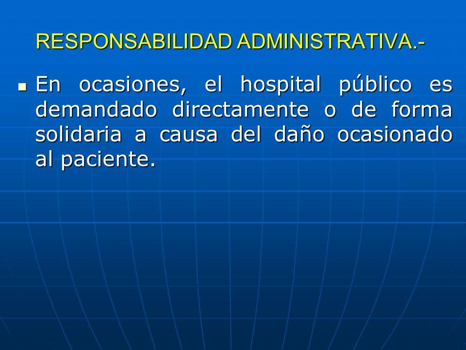 RESPONSABILIDAD ADMINISTRATIVA.- En ocasiones, el hospital público es demandado directamente o de forma solidaria a causa del daño ocasionado al pacie