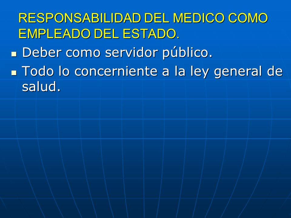 RESPONSABILIDAD DEL MEDICO COMO EMPLEADO DEL ESTADO. Deber como servidor público. Deber como servidor público. Todo lo concerniente a la ley general d