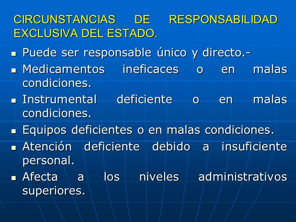 CIRCUNSTANCIAS DE RESPONSABILIDAD EXCLUSIVA DEL ESTADO. Puede ser responsable único y directo.- Puede ser responsable único y directo.- Medicamentos i