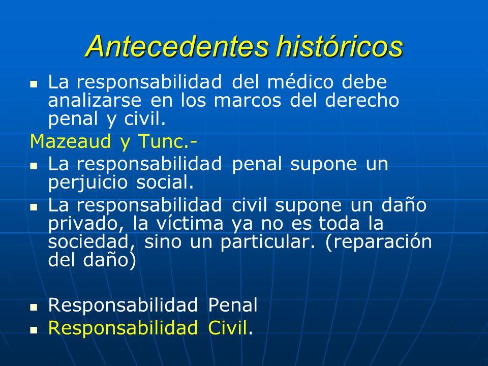 Antecedentes históricos La responsabilidad del médico debe analizarse en los marcos del derecho penal y civil. Mazeaud y Tunc.- La responsabilidad pen