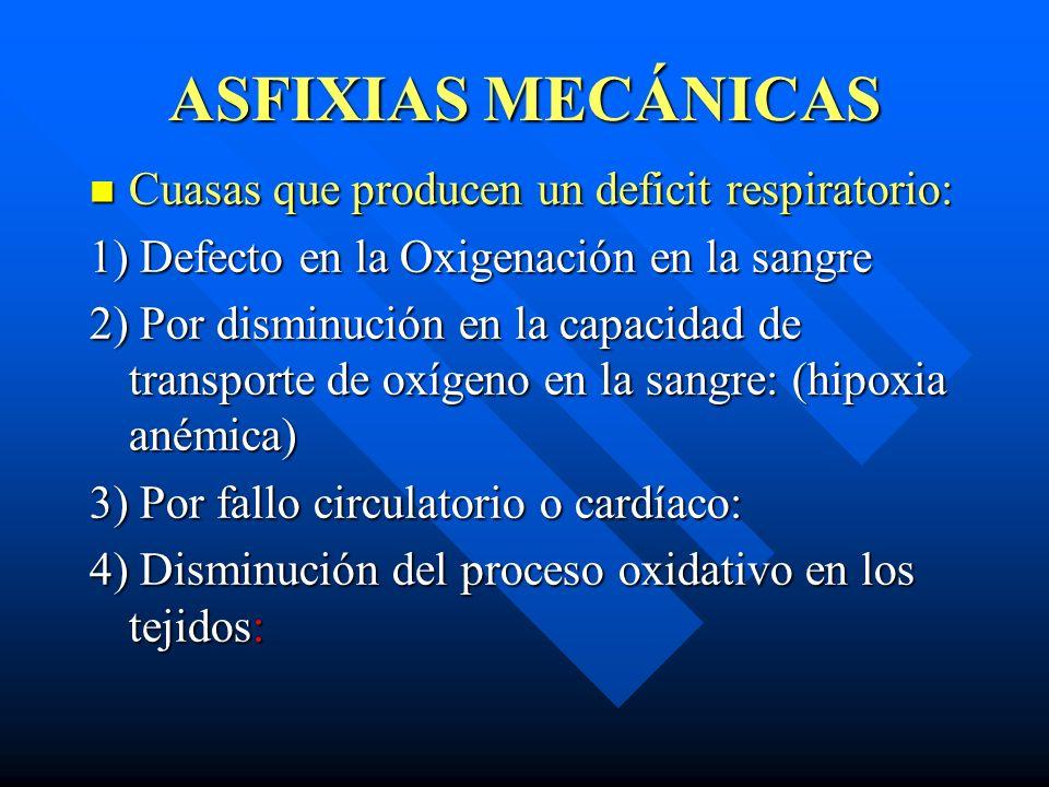 ASFIXIAS MECÁNICAS Cuasas que producen un deficit respiratorio: Cuasas que producen un deficit respiratorio: 1) Defecto en la Oxigenación en la sangre