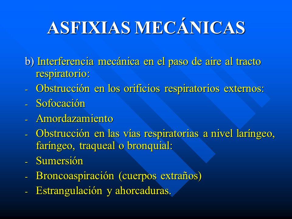 ASFIXIAS MECÁNICAS b) Interferencia mecánica en el paso de aire al tracto respiratorio: - Obstrucción en los orificios respiratorios externos: - Sofoc