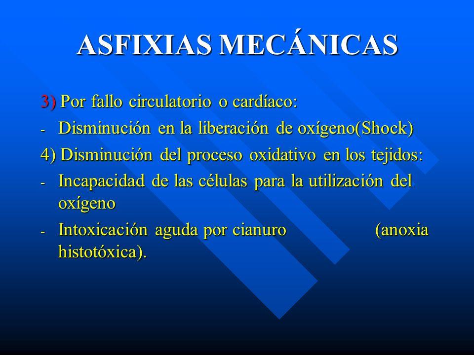 ASFIXIAS MECÁNICAS 3) Por fallo circulatorio o cardíaco: - Disminución en la liberación de oxígeno(Shock) 4) Disminución del proceso oxidativo en los