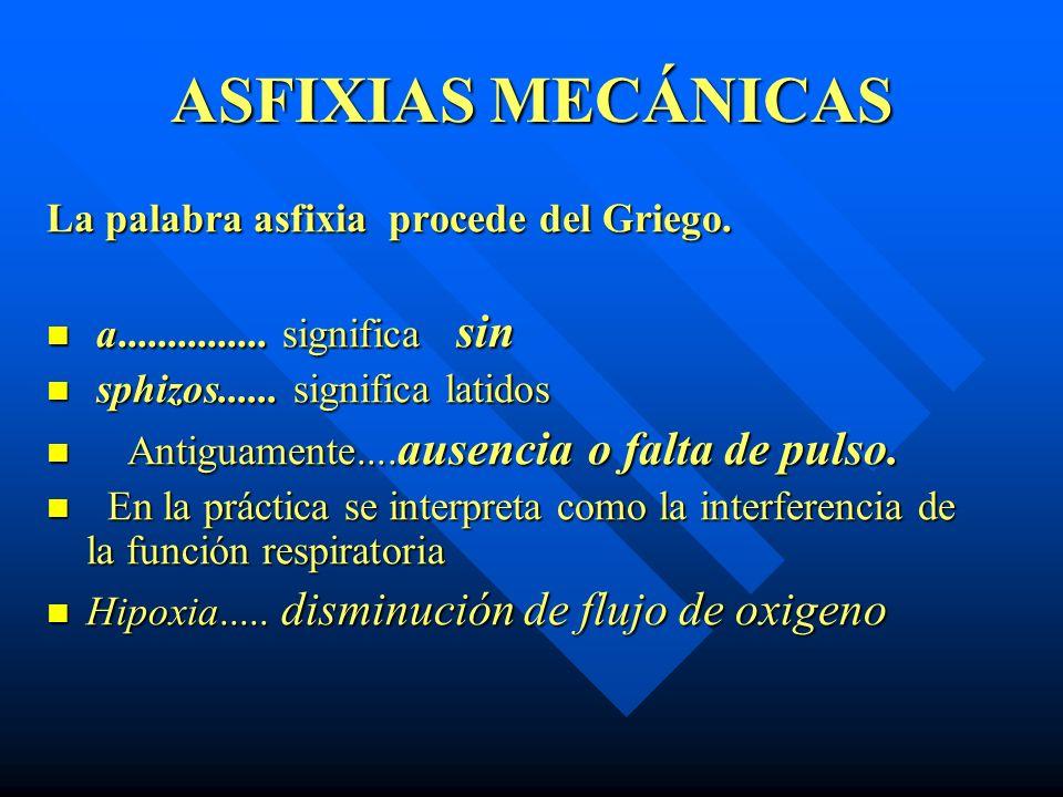 ASFIXIAS MECÁNICAS Hipoxia...disminución del flujo de oxígeno Anoxia....