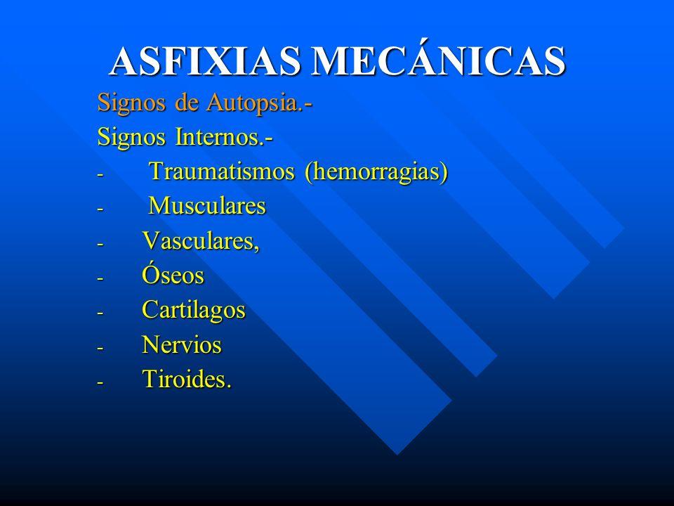 ASFIXIAS MECÁNICAS Signos de Autopsia.- Signos Internos.- - Traumatismos (hemorragias) - Musculares - Vasculares, - Óseos - Cartilagos - Nervios - Tir