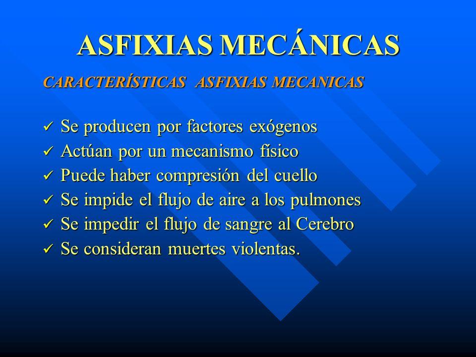 ASFIXIAS MECÁNICAS CLASIFICACIÓN DE LAS ASFIXIAS: MECÁNICAS MECÁNICAS Sumersión (ahogamiento) Sumersión (ahogamiento) Ahorcamiento Ahorcamiento Estrangulación (manual y por cuerda) Estrangulación (manual y por cuerda) Sofocación (broncoaspiración y compresión) Sofocación (broncoaspiración y compresión) Confinamiento.