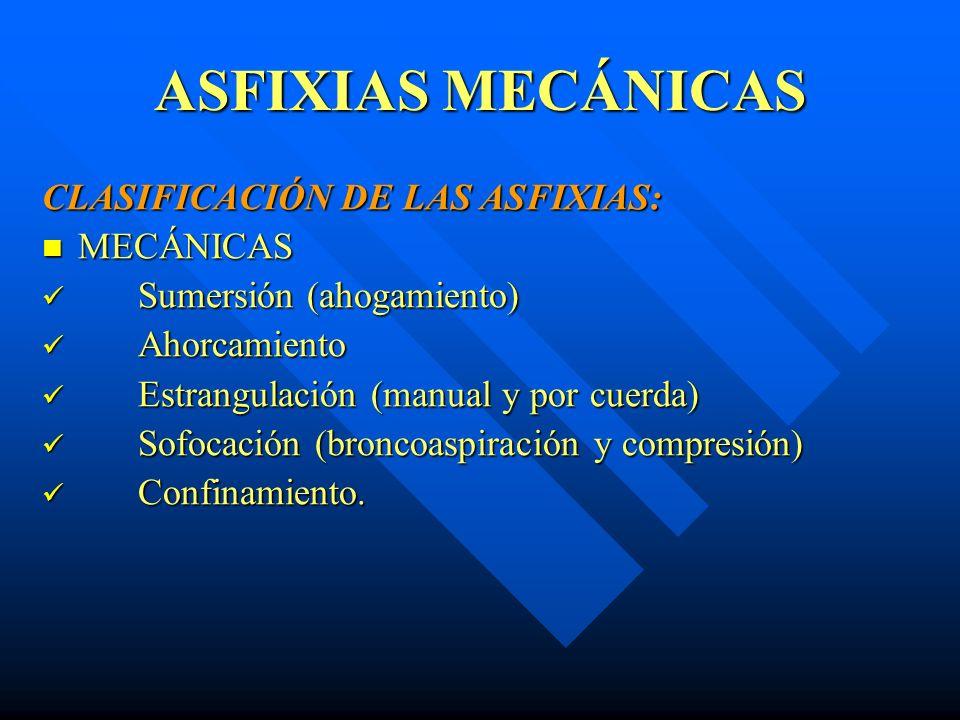 ASFIXIAS MECÁNICAS Estrangulación.- - Hallazgos en la Autopsia.- - Signos Externos.- - Surco de estrangulación - Equimosis digitadas - Estigmas ungueales - Rostro cianótico y tumefacto - Hemorragia en la lengua - Pueden haber signos de defensas - Signos Internos.- - Hemorragia de los músculos del cuello - Fractura del hueso hiodes y cartílagos laríngeos - Son raras las lesiones vasculares.