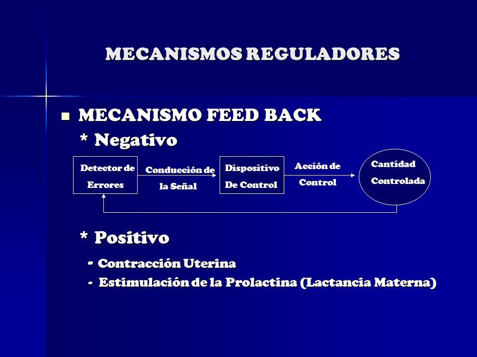 MECANISMOS REGULADORES MECANISMO FEED BACK MECANISMO FEED BACK * Negativo * Positivo - Contracción Uterina - Contracción Uterina - Estimulación de la
