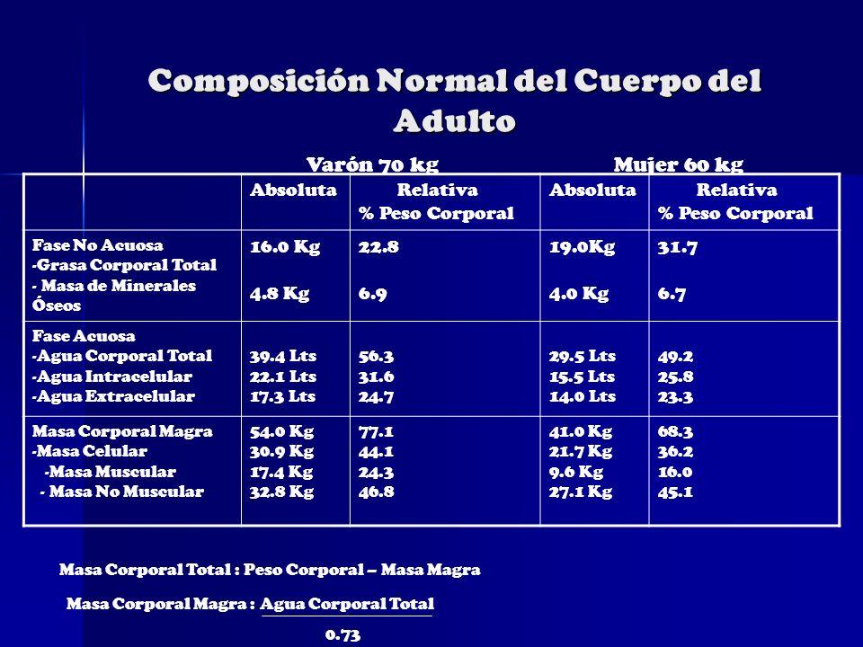 Composición Normal del Cuerpo del Adulto Absoluta Relativa % Peso Corporal Absoluta Relativa % Peso Corporal Fase No Acuosa -Grasa Corporal Total - Ma
