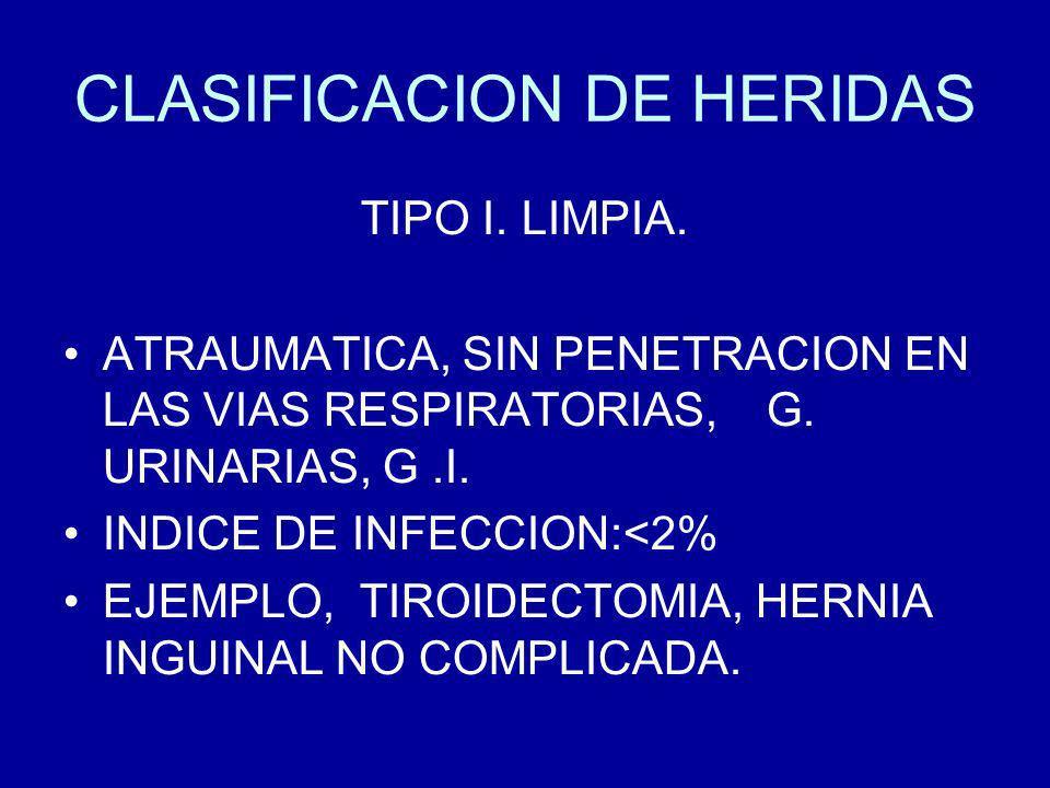 CLASIFICACION DE HERIDAS TIPO I.LIMPIA. ATRAUMATICA, SIN PENETRACION EN LAS VIAS RESPIRATORIAS, G.