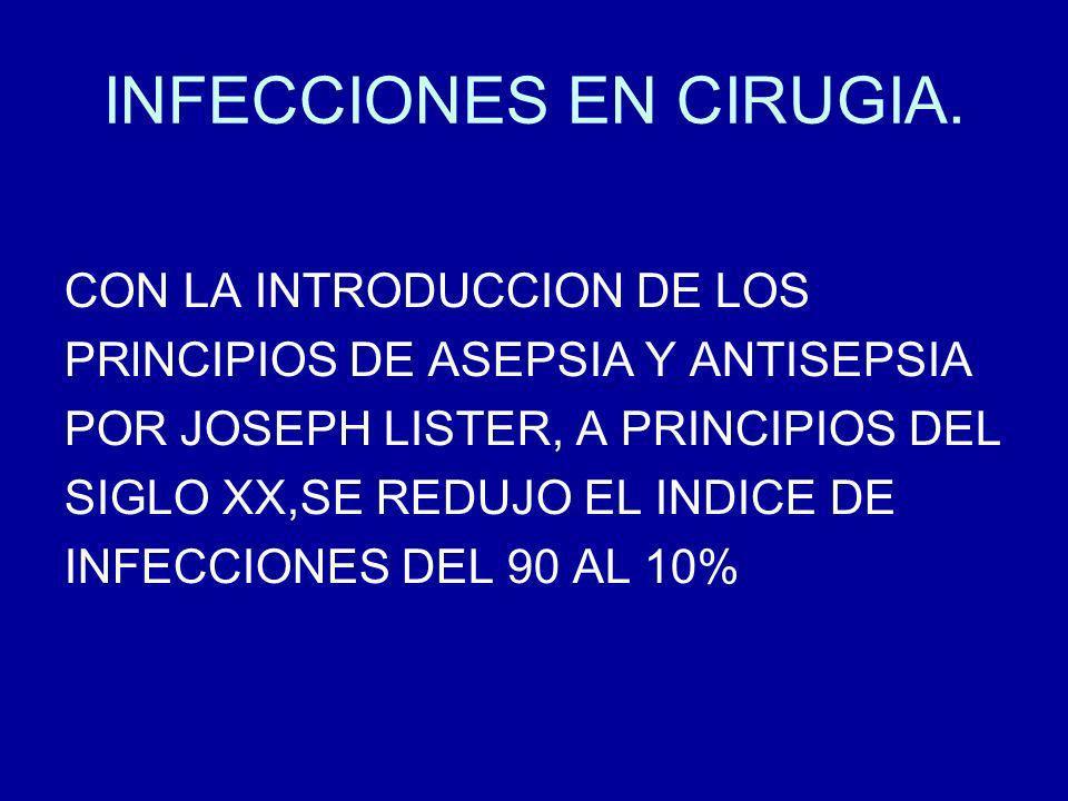 INFECCIONES EN CIRUGIA.COMPLICACIONES: SEPTICEMIA.