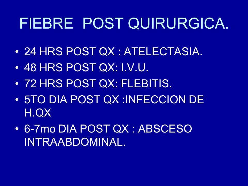 FIEBRE POST QUIRURGICA.24 HRS POST QX : ATELECTASIA.