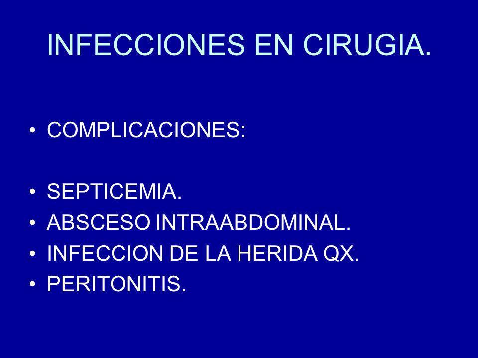 INFECCIONES EN CIRUGIA PERITONITIS O SEPSIS INTRAABDOM.
