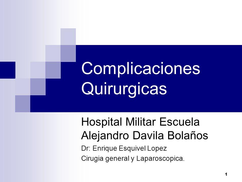1 Complicaciones Quirurgicas Hospital Militar Escuela Alejandro Davila Bolaños Dr: Enrique Esquivel Lopez Cirugia general y Laparoscopica.