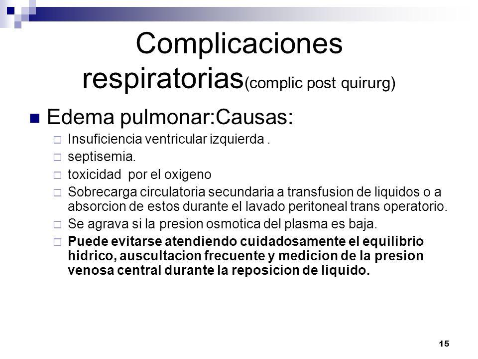 15 Complicaciones respiratorias (complic post quirurg) Edema pulmonar:Causas: Insuficiencia ventricular izquierda. septisemia. toxicidad por el oxigen