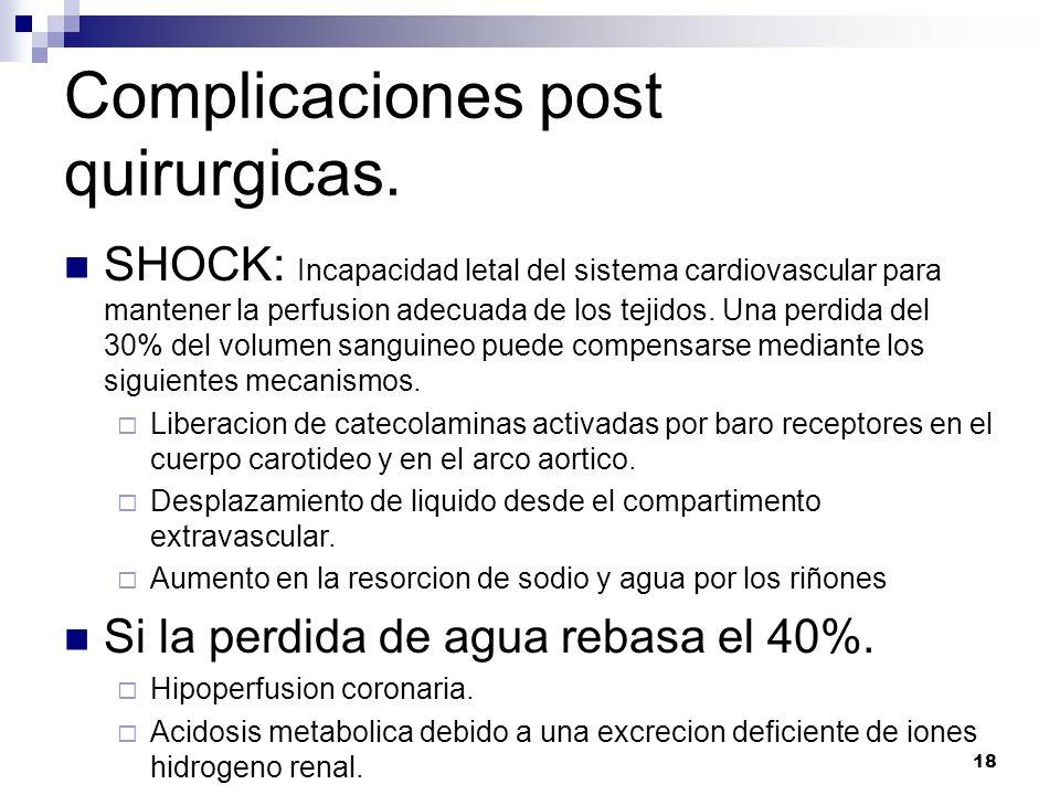 18 Complicaciones post quirurgicas. SHOCK: Incapacidad letal del sistema cardiovascular para mantener la perfusion adecuada de los tejidos. Una perdid