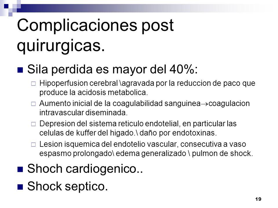 19 Complicaciones post quirurgicas. Sila perdida es mayor del 40%: Hipoperfusion cerebral \agravada por la reduccion de paco que produce la acidosis m