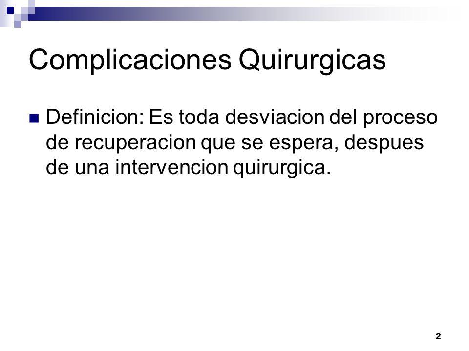 2 Complicaciones Quirurgicas Definicion: Es toda desviacion del proceso de recuperacion que se espera, despues de una intervencion quirurgica.