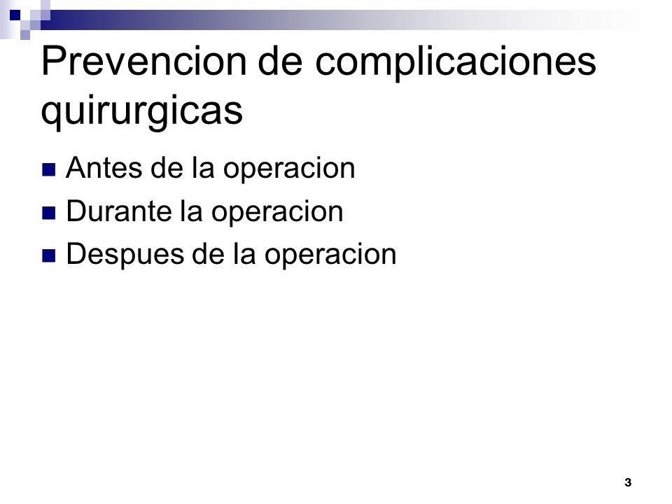 4 COMPLICACIONES QUIRURGICAS Fiebre post quirurgica:La elevacion de la temperatura de un paciente operado no significa necesariamente una complicacion grave.