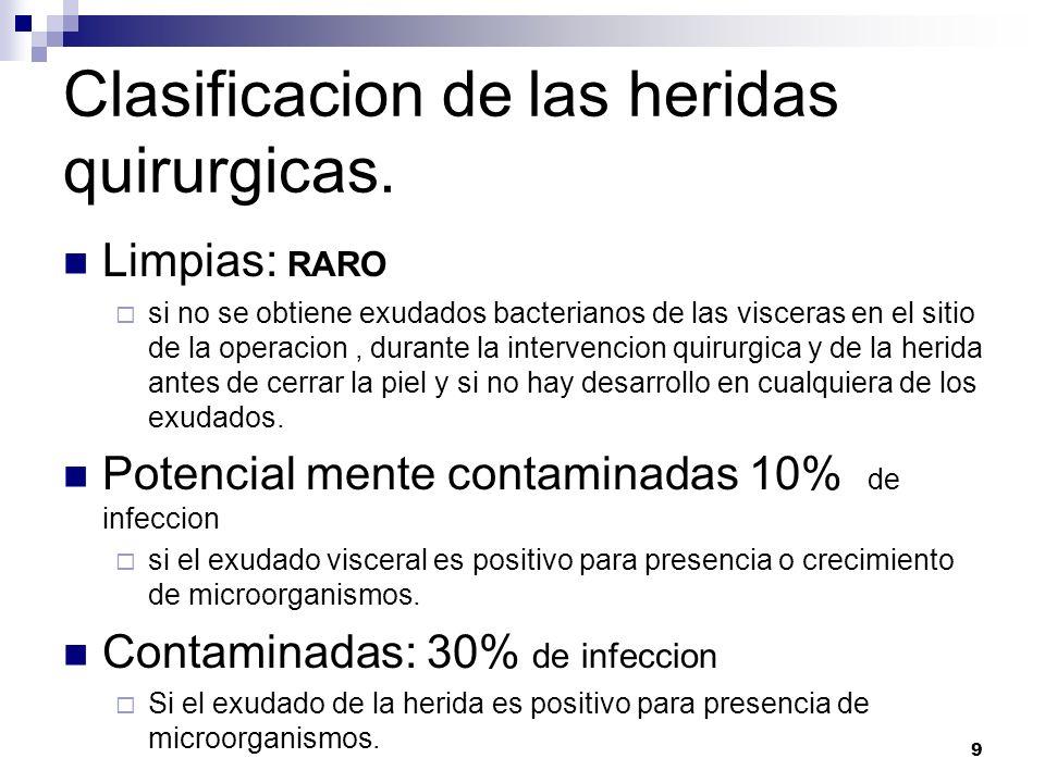 9 Clasificacion de las heridas quirurgicas. Limpias: RARO si no se obtiene exudados bacterianos de las visceras en el sitio de la operacion, durante l