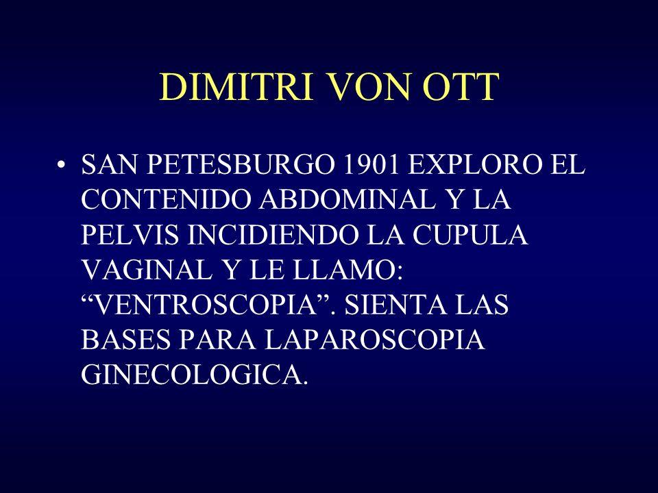 DIMITRI VON OTT SAN PETESBURGO 1901 EXPLORO EL CONTENIDO ABDOMINAL Y LA PELVIS INCIDIENDO LA CUPULA VAGINAL Y LE LLAMO: VENTROSCOPIA. SIENTA LAS BASES