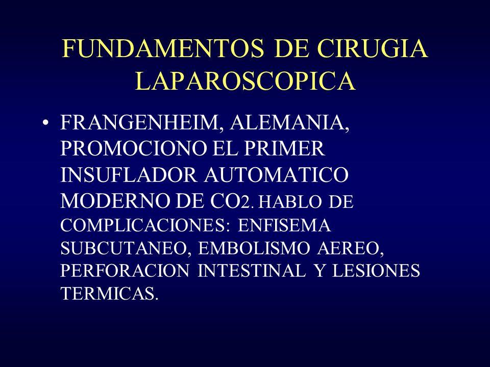 FUNDAMENTOS DE CIRUGIA LAPAROSCOPICA FRANGENHEIM, ALEMANIA, PROMOCIONO EL PRIMER INSUFLADOR AUTOMATICO MODERNO DE CO 2. HABLO DE COMPLICACIONES: ENFIS