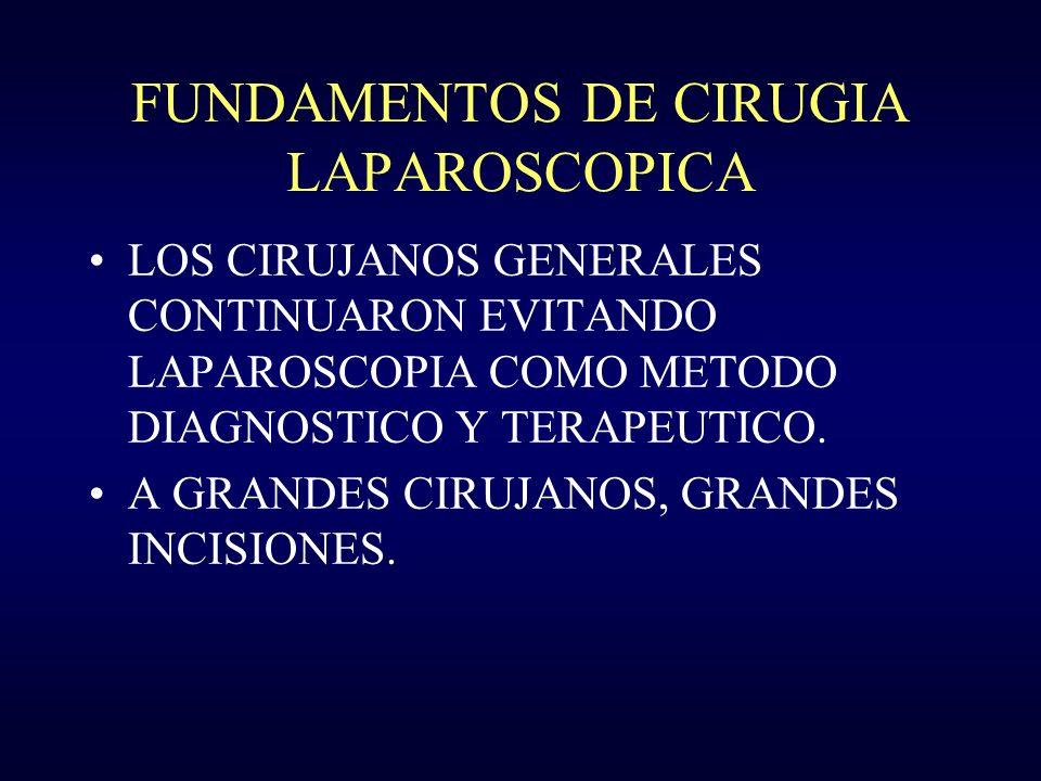 FUNDAMENTOS DE CIRUGIA LAPAROSCOPICA LOS CIRUJANOS GENERALES CONTINUARON EVITANDO LAPAROSCOPIA COMO METODO DIAGNOSTICO Y TERAPEUTICO. A GRANDES CIRUJA