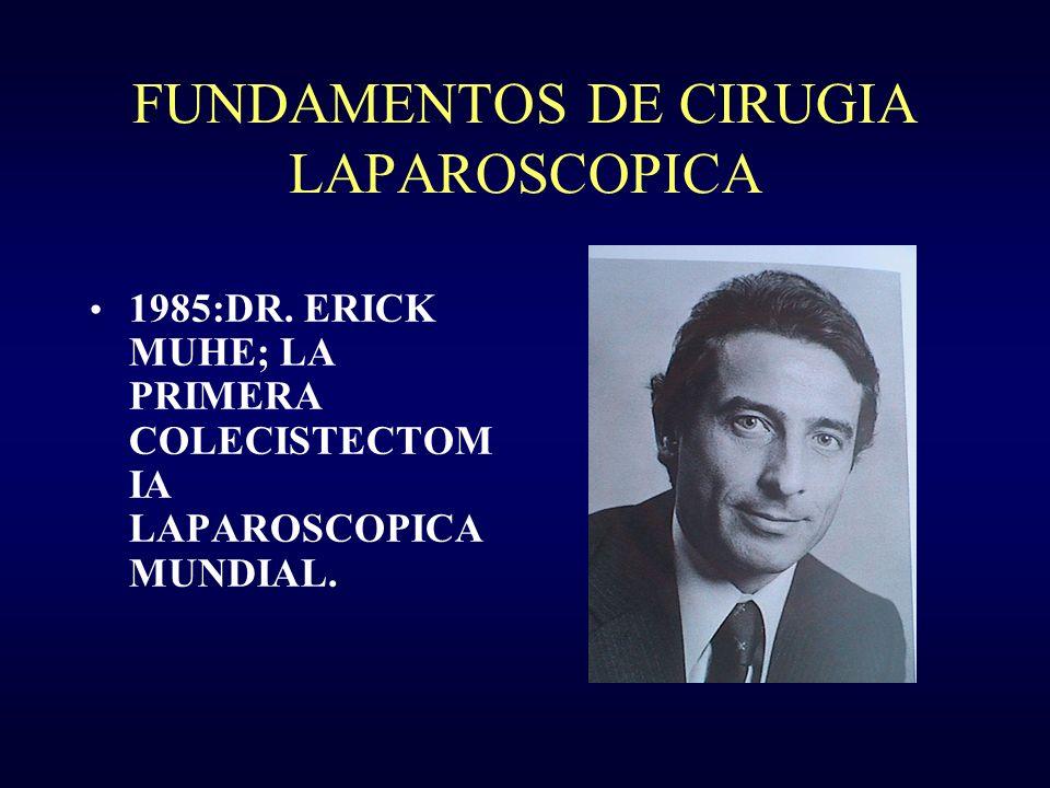 FUNDAMENTOS DE CIRUGIA LAPAROSCOPICA 1985:DR. ERICK MUHE; LA PRIMERA COLECISTECTOM IA LAPAROSCOPICA MUNDIAL.