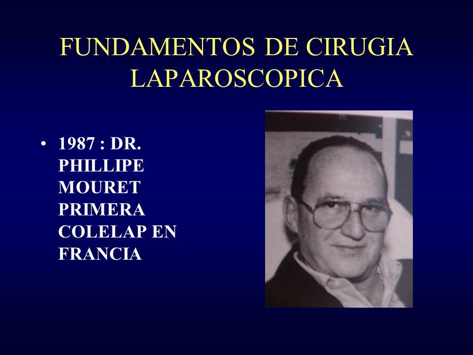 FUNDAMENTOS DE CIRUGIA LAPAROSCOPICA 1987 : DR. PHILLIPE MOURET PRIMERA COLELAP EN FRANCIA