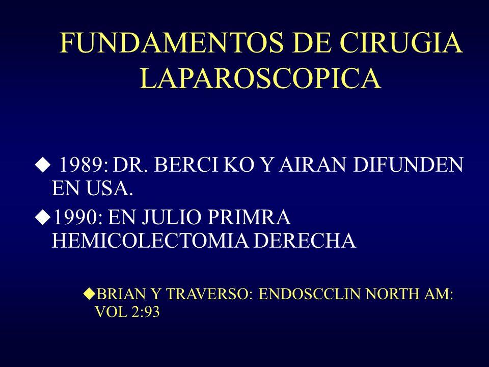 FUNDAMENTOS DE CIRUGIA LAPAROSCOPICA u 1989: DR. BERCI KO Y AIRAN DIFUNDEN EN USA. u 1990: EN JULIO PRIMRA HEMICOLECTOMIA DERECHA u BRIAN Y TRAVERSO:
