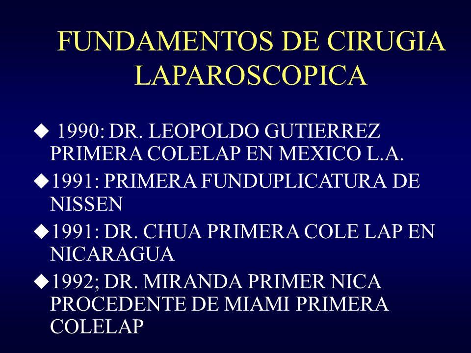 FUNDAMENTOS DE CIRUGIA LAPAROSCOPICA u 1990: DR. LEOPOLDO GUTIERREZ PRIMERA COLELAP EN MEXICO L.A. u 1991: PRIMERA FUNDUPLICATURA DE NISSEN u 1991: DR