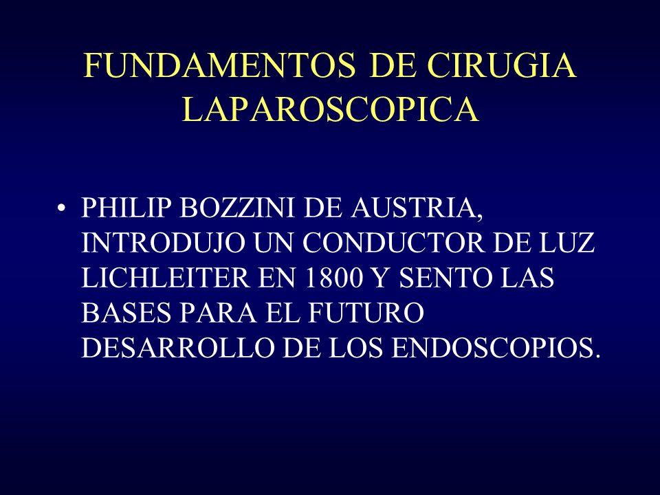 FUNDAMENTOS DE CIRUGIA LAPAROSCOPICA 1937: RUDDOCK CIRUJANO USA, DESARROLLO MULTIPLES INSTRUMENTOS Y PINZAS DE BIOPSIA.