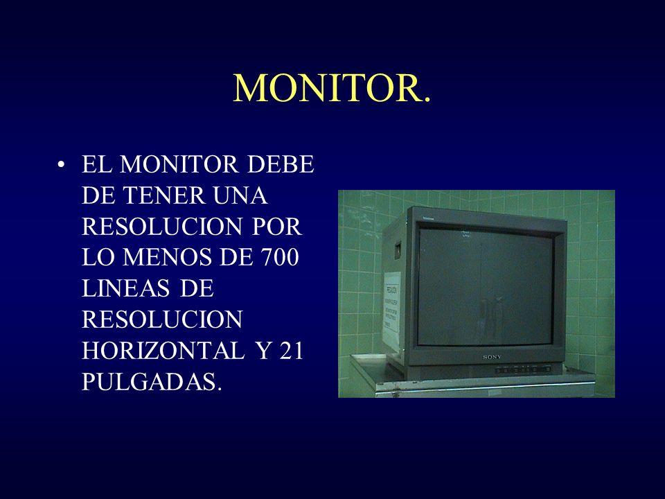 MONITOR. EL MONITOR DEBE DE TENER UNA RESOLUCION POR LO MENOS DE 700 LINEAS DE RESOLUCION HORIZONTAL Y 21 PULGADAS.