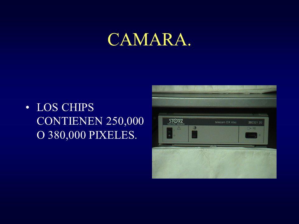 CAMARA. LOS CHIPS CONTIENEN 250,000 O 380,000 PIXELES.
