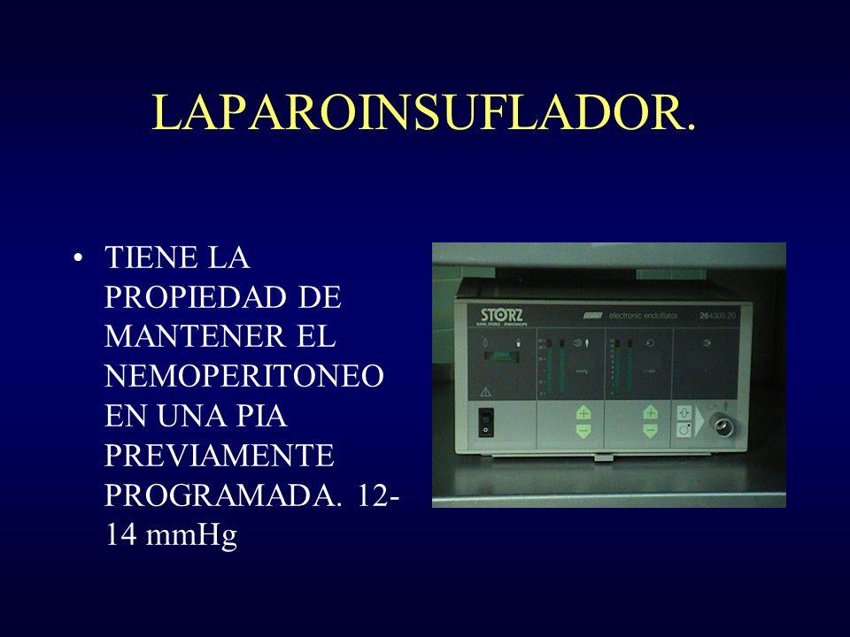 LAPAROINSUFLADOR. TIENE LA PROPIEDAD DE MANTENER EL NEMOPERITONEO EN UNA PIA PREVIAMENTE PROGRAMADA. 12- 14 mmHg