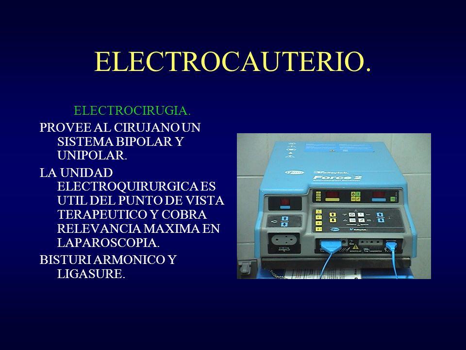 ELECTROCAUTERIO. ELECTROCIRUGIA. PROVEE AL CIRUJANO UN SISTEMA BIPOLAR Y UNIPOLAR. LA UNIDAD ELECTROQUIRURGICA ES UTIL DEL PUNTO DE VISTA TERAPEUTICO