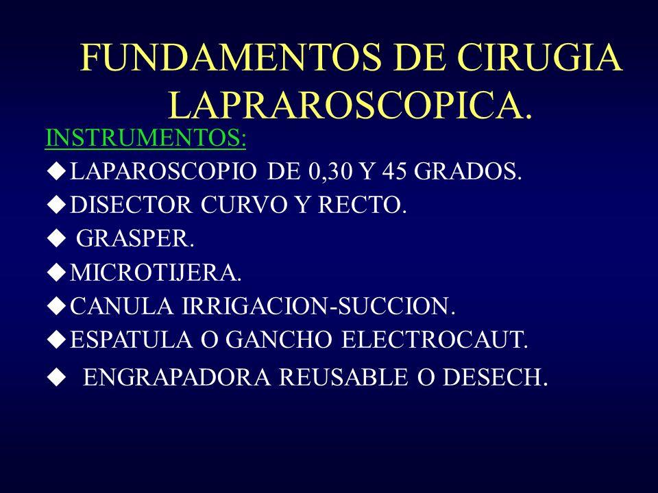FUNDAMENTOS DE CIRUGIA LAPRAROSCOPICA. INSTRUMENTOS: u LAPAROSCOPIO DE 0,30 Y 45 GRADOS. u DISECTOR CURVO Y RECTO. u GRASPER. u MICROTIJERA. u CANULA