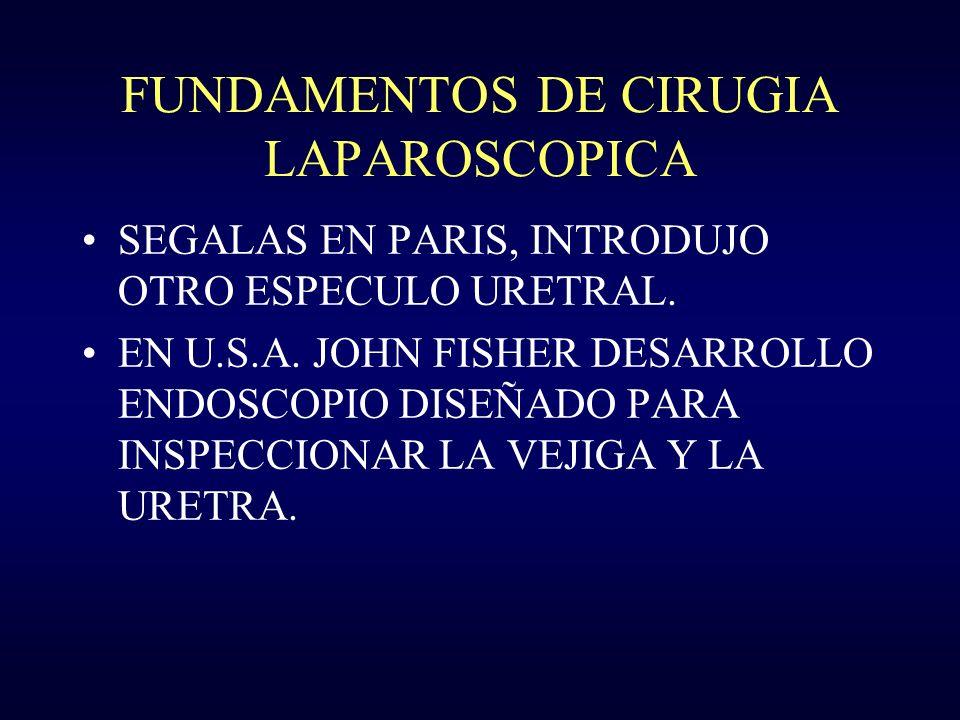 FUNDAMENTOS DE CIRUGIA LAPAROSCOPICA DESORMEAUX EN PARIS, DISEÑO UN CISTOSCOPIO PERFECCIONADO EN 1855 EL CUAL HACIA CONVERGER LOS HACES DE LUZ MEDIANTE ESPEJOS.