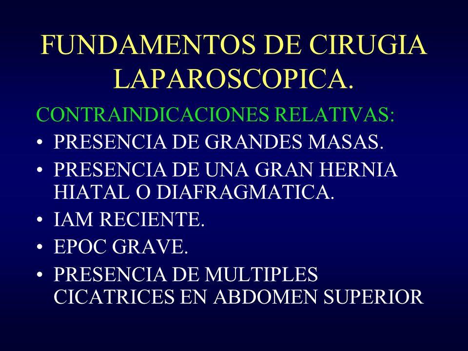 FUNDAMENTOS DE CIRUGIA LAPAROSCOPICA. CONTRAINDICACIONES RELATIVAS: PRESENCIA DE GRANDES MASAS. PRESENCIA DE UNA GRAN HERNIA HIATAL O DIAFRAGMATICA. I