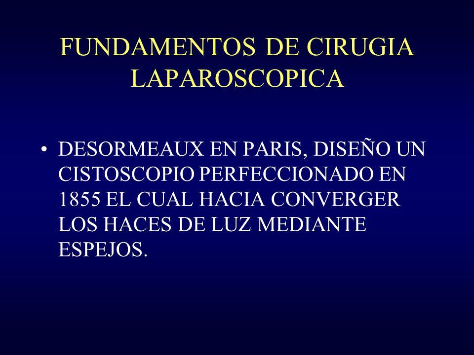 FUNDAMENTOS DE CIRUGIA LAPAROSCOPICA DESORMEAUX EN PARIS, DISEÑO UN CISTOSCOPIO PERFECCIONADO EN 1855 EL CUAL HACIA CONVERGER LOS HACES DE LUZ MEDIANT