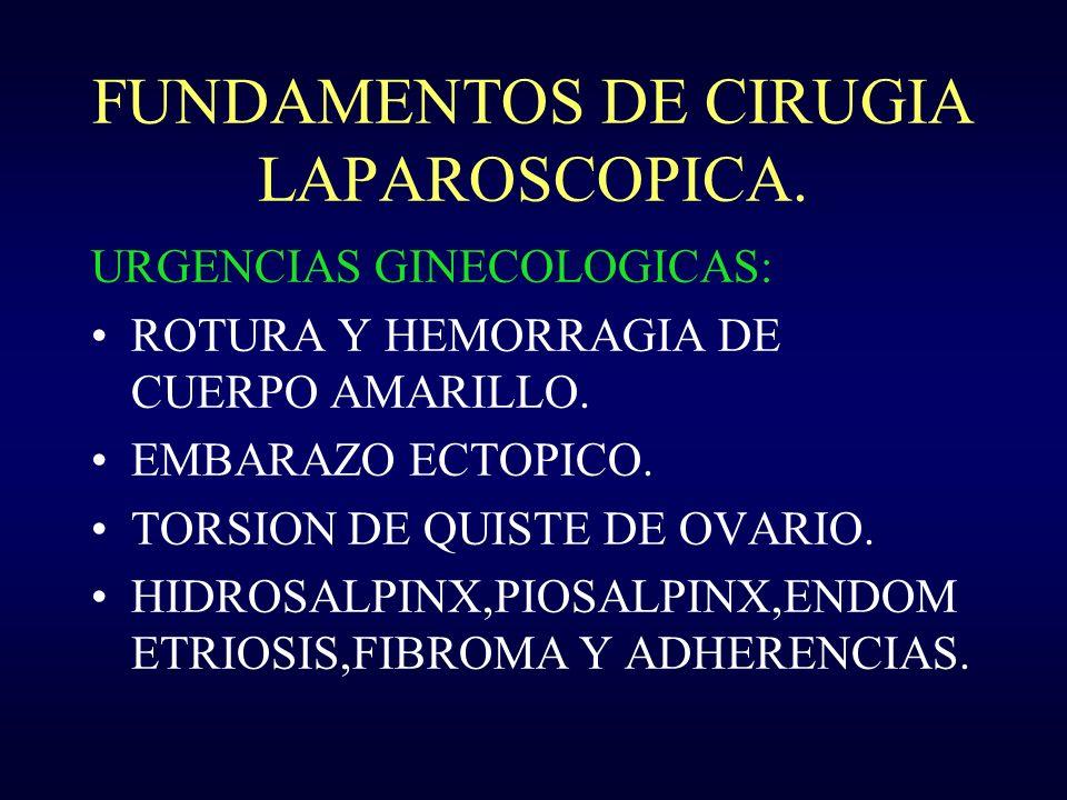 FUNDAMENTOS DE CIRUGIA LAPAROSCOPICA. URGENCIAS GINECOLOGICAS: ROTURA Y HEMORRAGIA DE CUERPO AMARILLO. EMBARAZO ECTOPICO. TORSION DE QUISTE DE OVARIO.