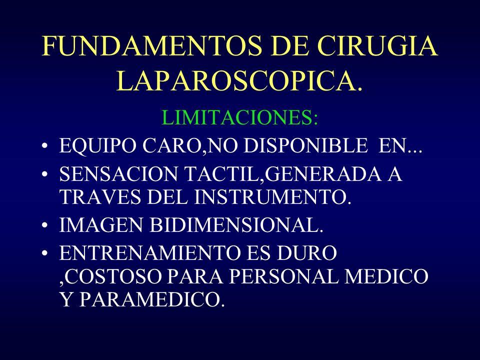 FUNDAMENTOS DE CIRUGIA LAPAROSCOPICA. LIMITACIONES: EQUIPO CARO,NO DISPONIBLE EN... SENSACION TACTIL,GENERADA A TRAVES DEL INSTRUMENTO. IMAGEN BIDIMEN