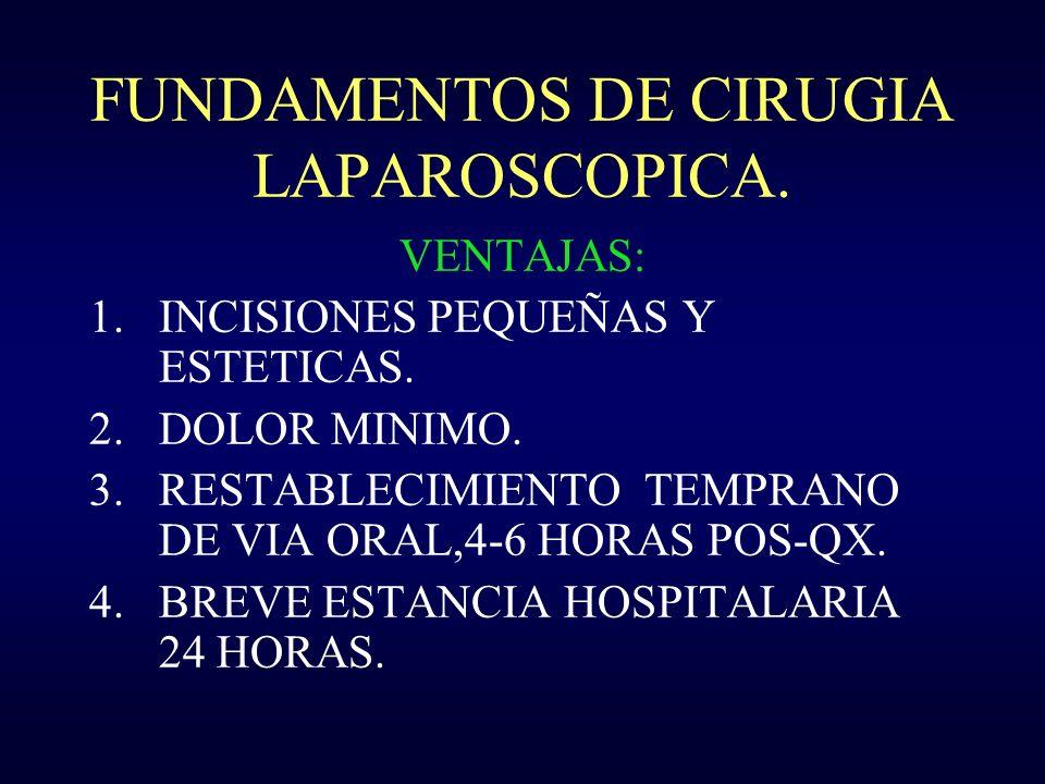 FUNDAMENTOS DE CIRUGIA LAPAROSCOPICA. VENTAJAS: 1.INCISIONES PEQUEÑAS Y ESTETICAS. 2.DOLOR MINIMO. 3.RESTABLECIMIENTO TEMPRANO DE VIA ORAL,4-6 HORAS P