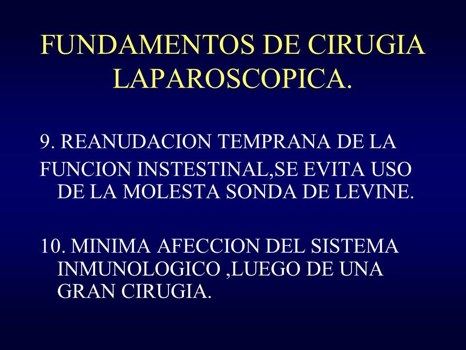 FUNDAMENTOS DE CIRUGIA LAPAROSCOPICA. 9. REANUDACION TEMPRANA DE LA FUNCION INSTESTINAL,SE EVITA USO DE LA MOLESTA SONDA DE LEVINE. 10. MINIMA AFECCIO