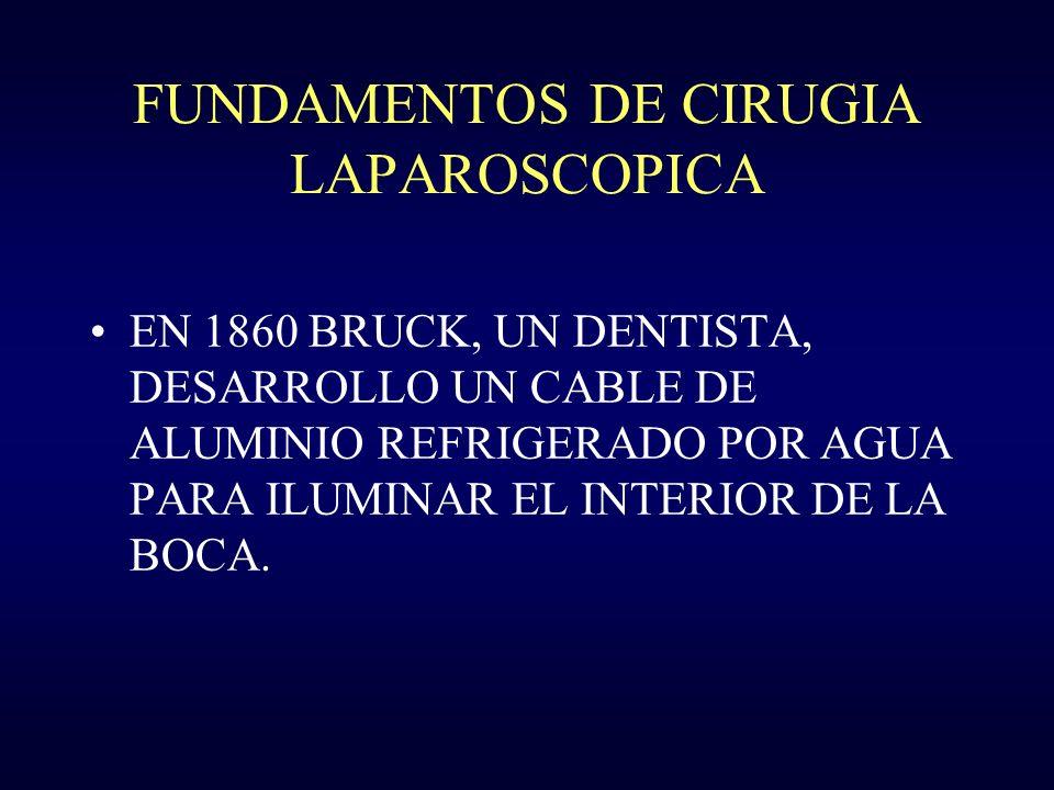 FUNDAMENTOS DE CIRUGIA LAPRAROSCOPICA.INSTRUMENTOS: u LAPAROSCOPIO DE 0,30 Y 45 GRADOS.